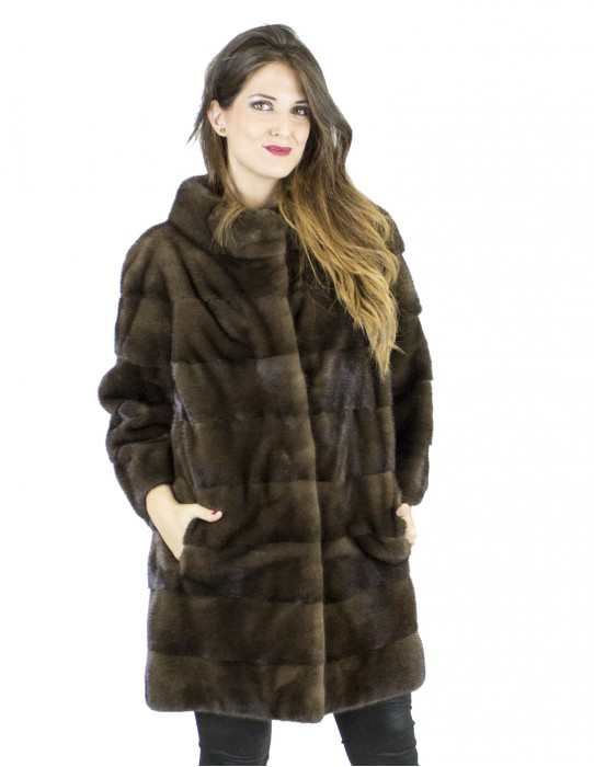 Pelliccia visone 48-50 brown star light cappotto sagafurs vison норка fur mink Nerzpelzes fourrure