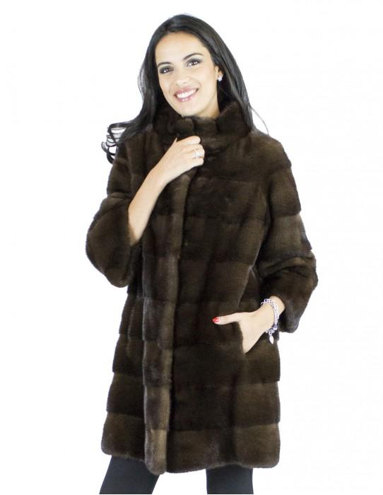 Mink Fur 44-46 mahogany coat sagafurs vison норка pelliccia visone Nerzpelzes fourrure