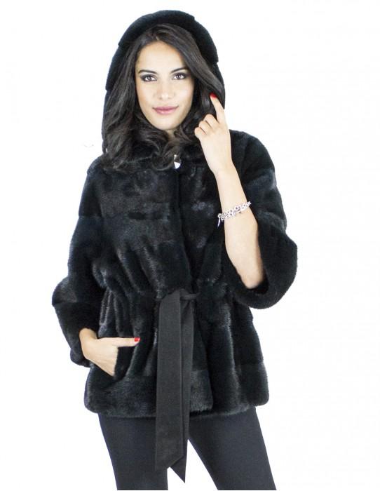 Мех норки 46-48 кипариса пояса с капюшоном куртки vison pelliccia visone fur mink Nerzpelzes fourrure