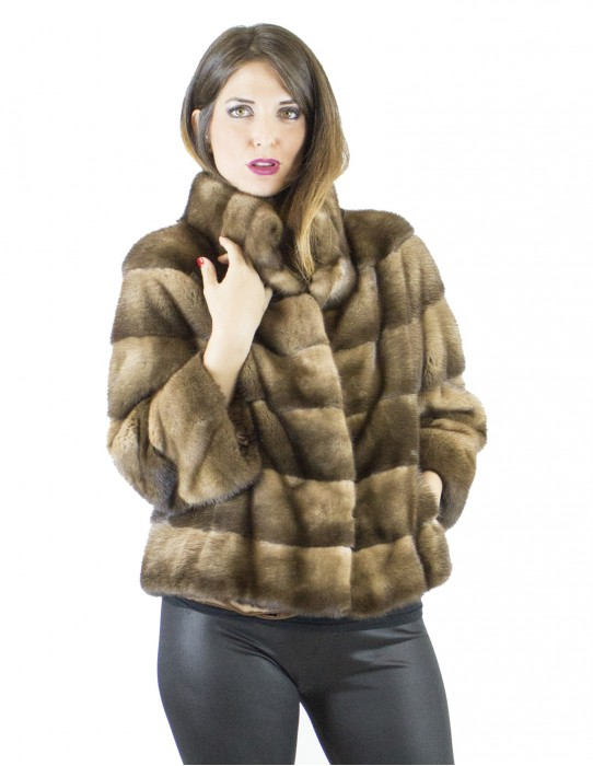 Mink fur 44 cinnamon high collar jacket vison норка pelliccia visone Nerzpelzes fourrure