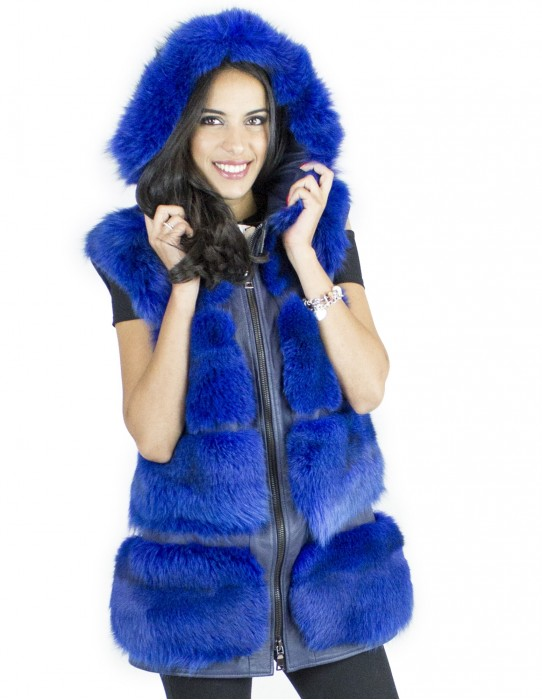 Gilet volpe bluette cappuccio taglia 48 fourrure renard fox fur лисицы Fuchspelz