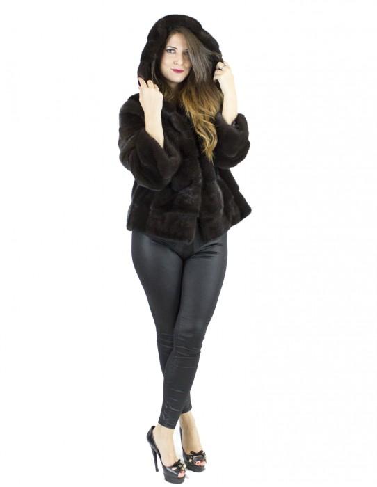 Jacket Fur coat chocolate hood 46 hooks pelliccia visone норка Nerzpelzes fourrure vison