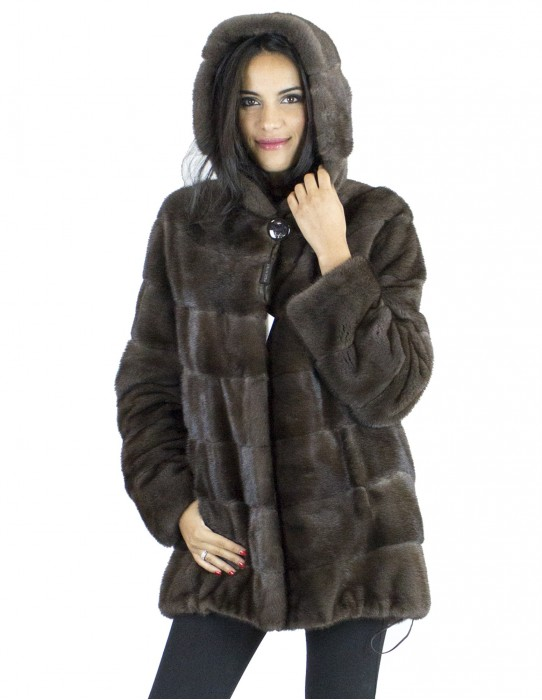 Fur braun brown mink Haken 46 cap fur mink норка pelliccia visone fourrure vison