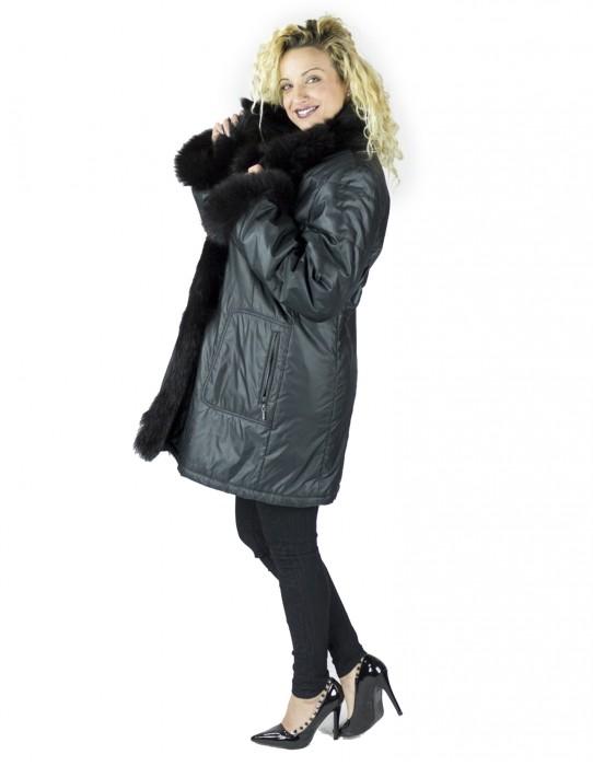 Piumino nero con collo e polsi in volpe murmasky comodo 50 fur mex pelz fourrure 毛皮