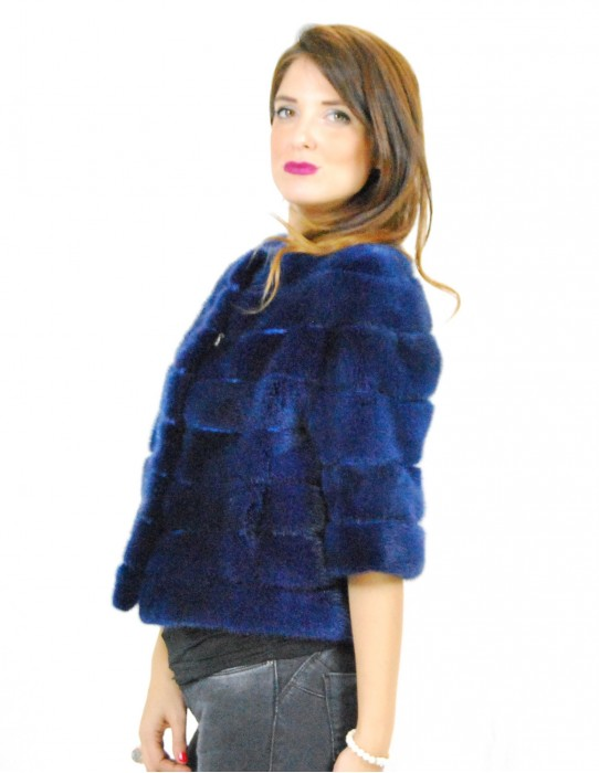 42 jacket mink woman blue lapis mod cape with round neck and 3/4 sleeve and patterned lining