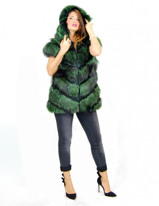 Light green fox waistcoat with 44 hoods pelliccia volpe Fuchspelz лисица fourrure
