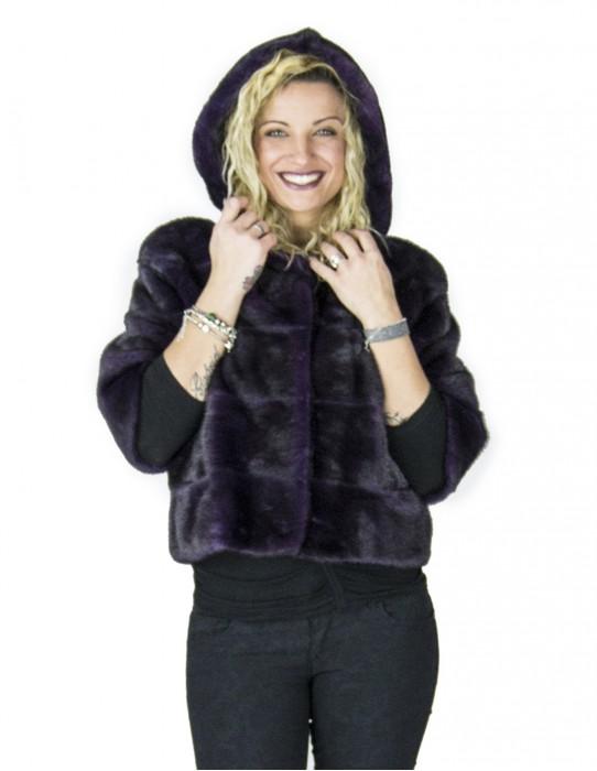фиолетовый фиолетовый норки куртка с капюшоном fur pelliccia pelz fourrure