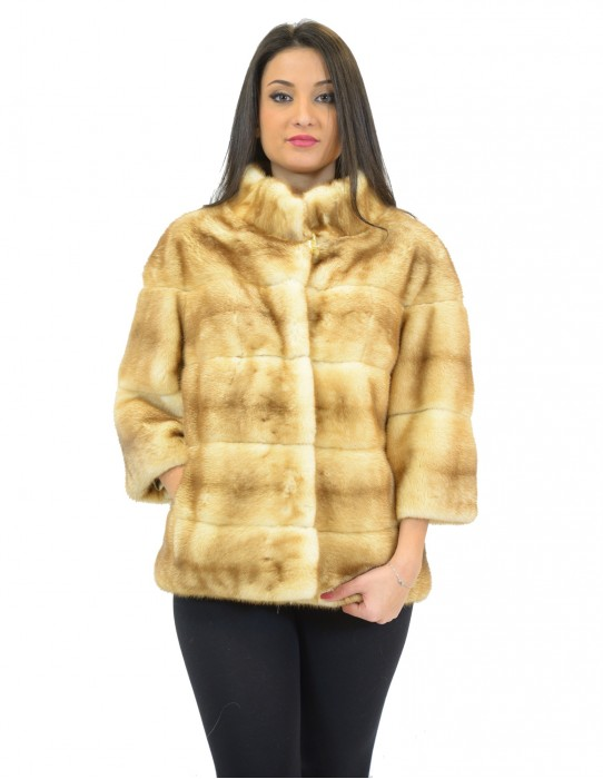 WOMEN'S JACKET MINK PALOMINO WITH HORIZONTAL PROCESSING AND NECK WIDE KOREAN