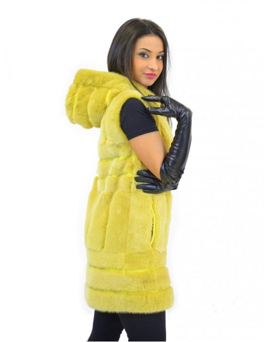 42-48 Damen Nerz gelbe Weste mit vertikaler und horizontaler Verarbeitung mit Kapuze und Reißverschluss