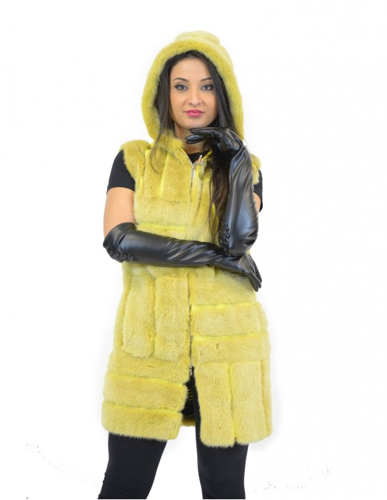 42-48 women's mink yellow vest with vertical and horizontal processing with hood and zip