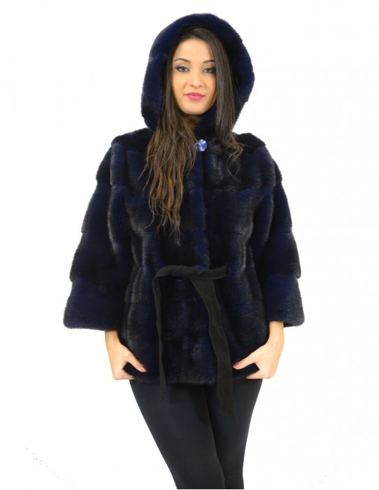 42 Fur mink jacket horizontal woman royal blue belt and hood pelliccia visone nerz норка fourrure