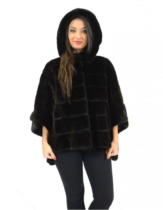 Pelliccia mantella visone black velvet con cappuccio e fondo doppio taglio 46 mink fur nerz норка fourrure