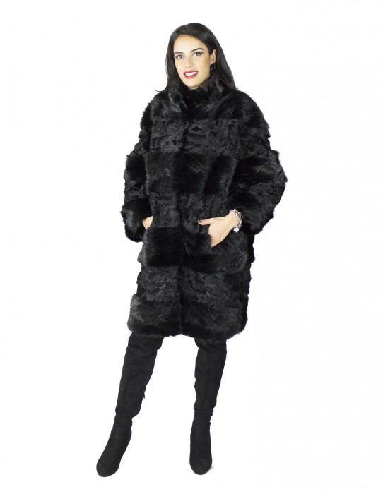 Cappotto nero in visone e persiano a fasce fur mex pelz fourrure 毛皮