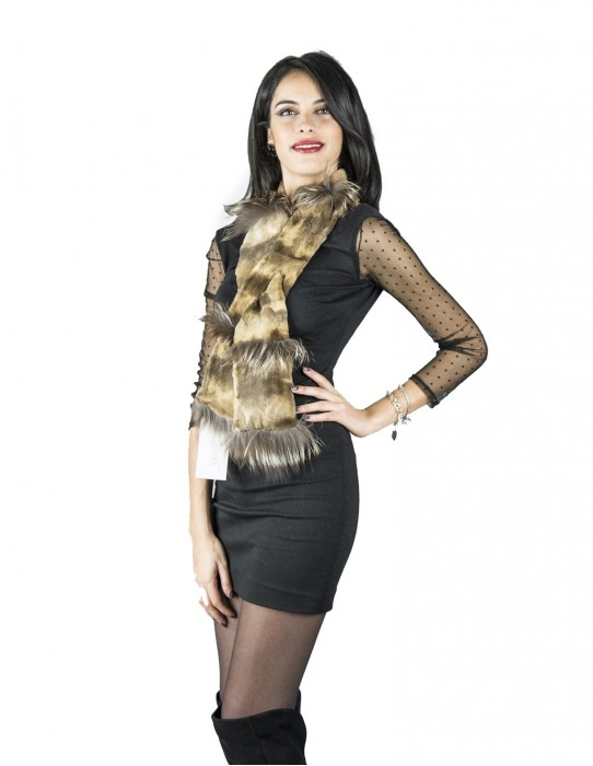 Scarf mink collar sheared with fox murmasky light brown gradient
