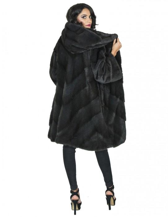 Серый с капюшоном норковая шуба аврора fur mink Pelz Nerz pelliccia visone 水貂 皮草