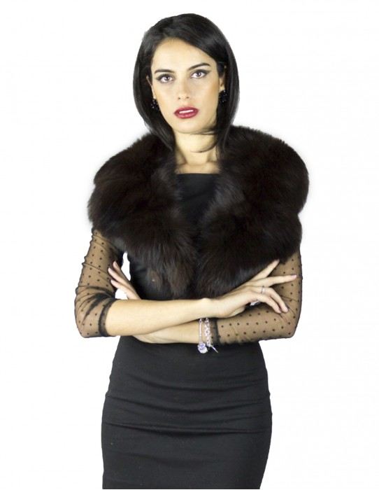Neck in brown fox collar long cut Pelzkragen col fourrure 毛領 ворот шерсти collo pelliccia