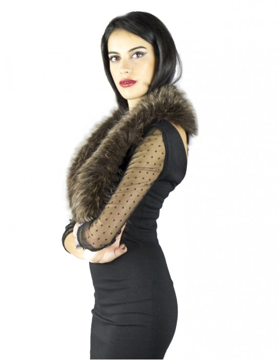 Murmasky лиса воротник длинный естественный коричневый цвет Pelzkragen col fourrure 毛領 collo pelliccia fur collar
