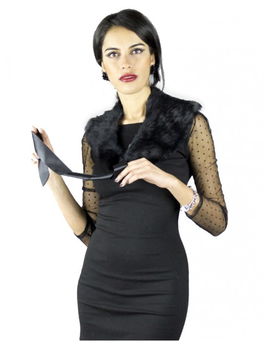 Лапин ремешок на шею в черном атласе Pelzkragen col fourrure 毛領 collo pelliccia fur collar