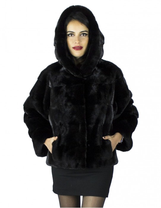 46 giaccone pelliccia visone black con cappuccio fur mink Pelz mex hopkn fourrure vison 水貂皮草