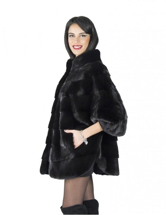 46 cappottino pelliccia nera visone collo cratere mantella fur mink Pelz mex hopkn fourrure vison 水貂皮草