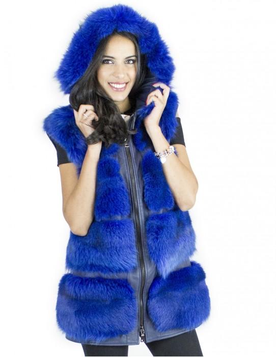 Жилет песец размер капот 46 fourrure renard fox fur pelliccia volpe Fuchspelz