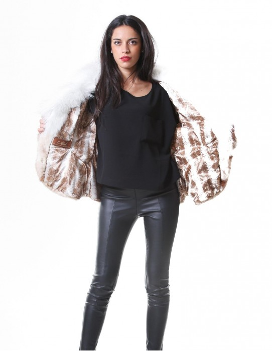 MINK FUR JACKET WOMEN'S CROSS WITH BROWN FOX