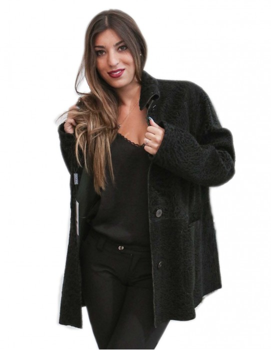 Quilted glossy charcoal gray jacket with collar buttons and buckles