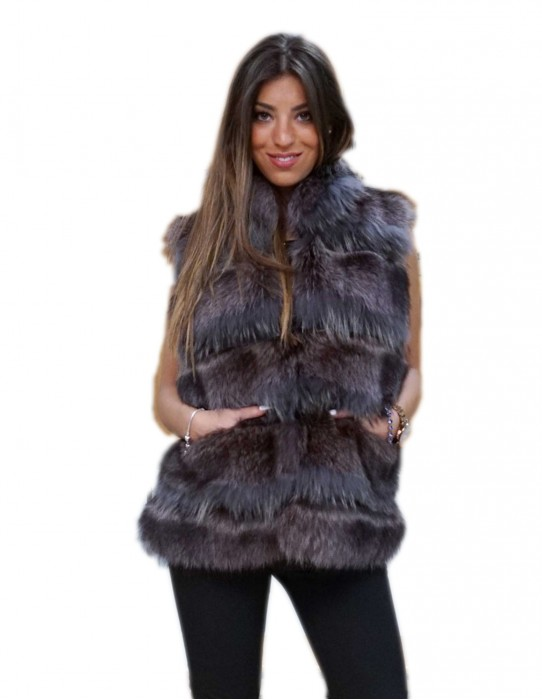 sleeveless fur vest women gray natural blue marmot