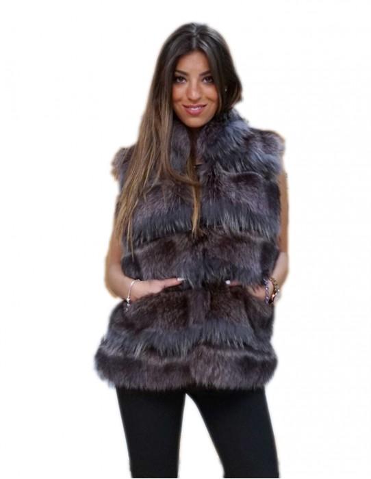 gilet smanicato donna pelliccia marmotta grigio azzurro naturale