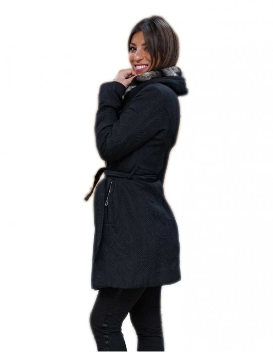 cappotto piumino con pelliccia di rex 44 nero e bianco doppio petto