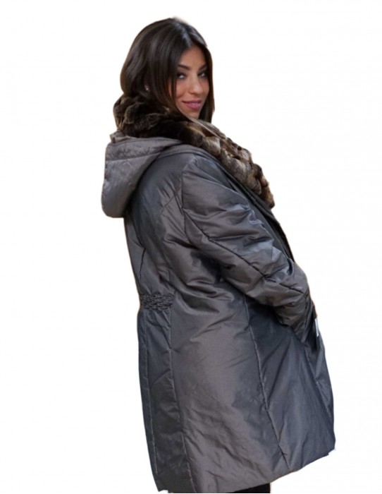 Duvet coat color rex neck bronze 55 and detachable hood over
