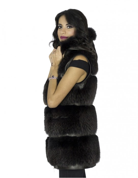 Sleeveless fox tassel dark hood back 44 Fuchspelz pelliccia volpe 狐狸毛 fourrure renard