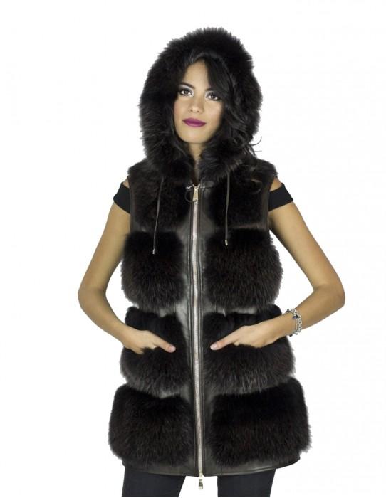 Fox Quaste dunkel ärmellos Kapuze zurück 44 pelliccia volpe fox fur 狐狸毛 fourrure renard