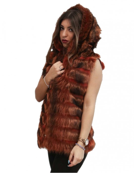 marmot fur vest horizontal machining rust-colored hooded