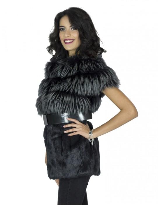 Smanicato volpe murmasky lapin grigio cintura fox fur Fuchspelz 狐狸毛兔毛 меха