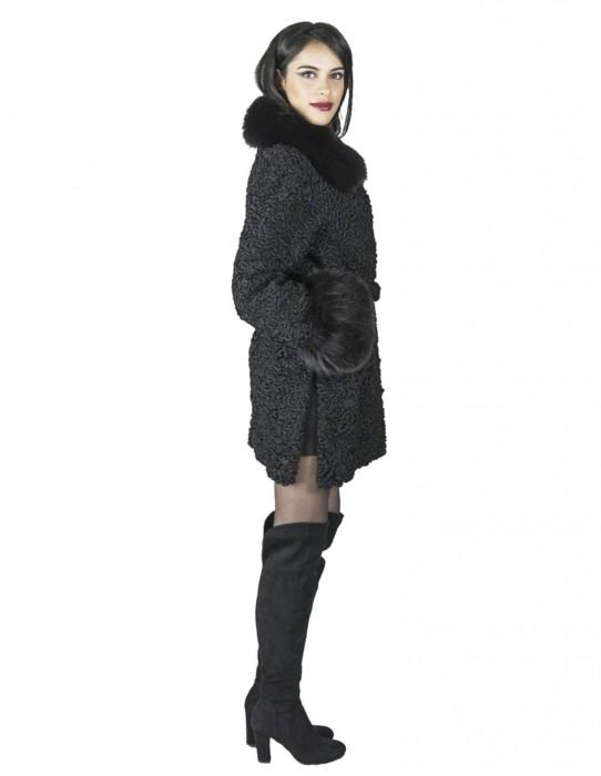 Black Persian coat neck wrists fox with belt pelz fourrure 毛皮 pelliccia mex