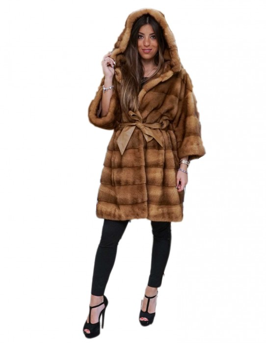 horizontal honey mink coat hooded kimono model with walls 50