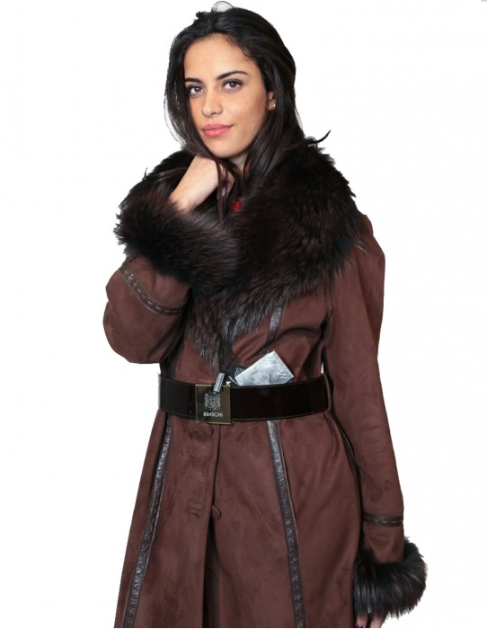 FUR COAT ECOLOGICAL SHEEPSKIN COLLAR AND CUFFS FOX AND STITCHING LEATHER