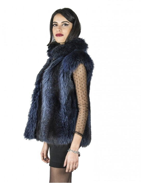 Marmot fur sleeveless blue longhaired pelz fourrure 毛皮 pelliccia marmotta mex