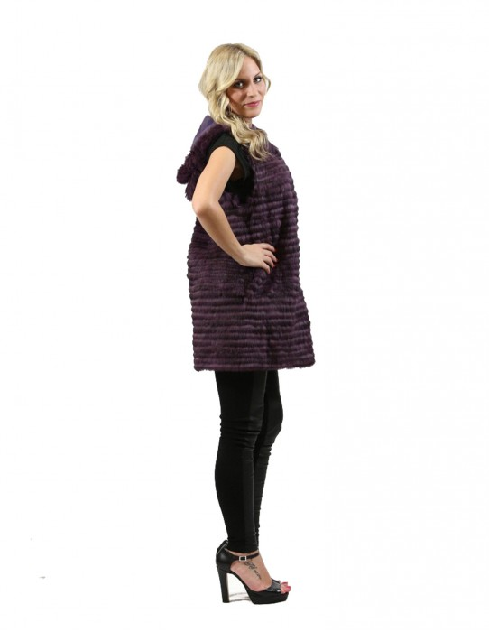 Rabbit fur vest women purple worked with horizontal hood and pockets