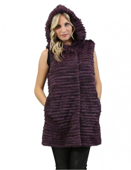 Lapin fur vest women purple horizontal worked with hood and pockets