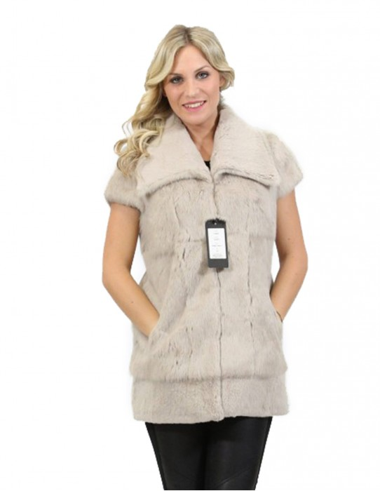 Pelliccia giaccone smanicato lapin donna grigio collo classico bottone e tasche 44
