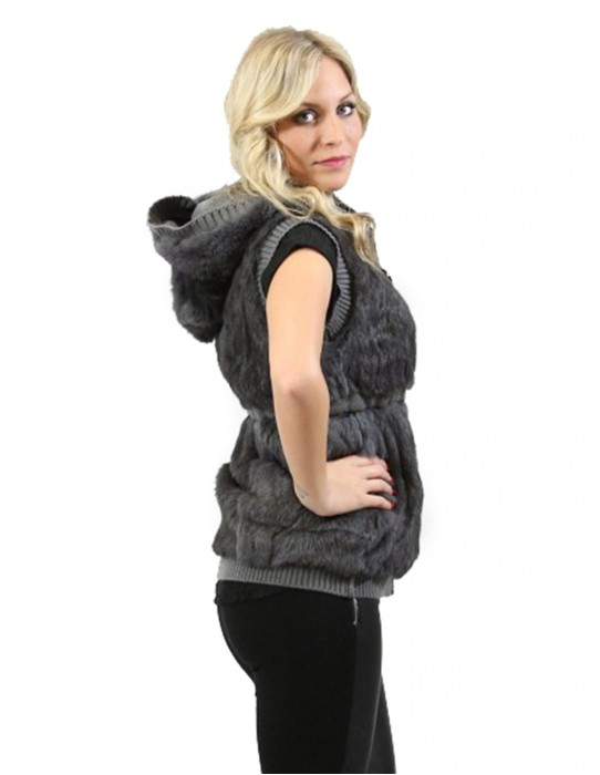 Fur woman sleeveless gray rabbit fur hood and zip pockets M REVERSIBLE