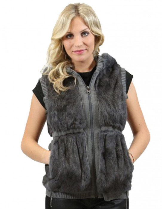 Woman rabbit fur sleeveless gray hooded zip pockets L reversible