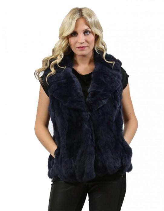 Fur vest Women's rex blue shawl collar, pockets and foldaway hooks