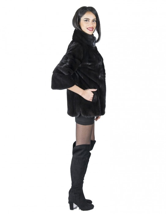 46 giacca peliccia visone black collo pistagna fur mink Pelz mex hopkn fourrure vison 水貂皮草