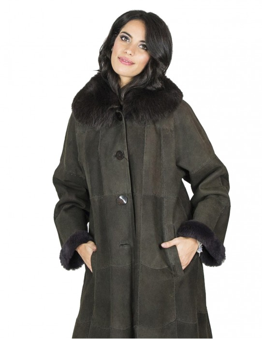 Lapin coat of dark brown fox neck top 54 fourrure 毛皮 pelliccia mex pelz