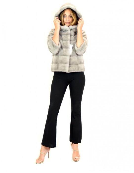 Куртка горизонтальной норки сапфир капот 48 mink fur Nerz fourrure de vison