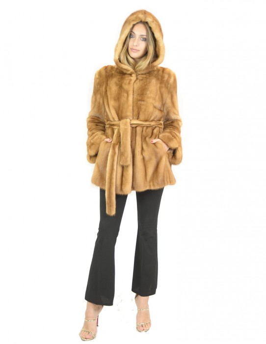 Норка пальто вся кожа с капюшоном и поясом меха 48 fourrure de vison mink fur Nerz