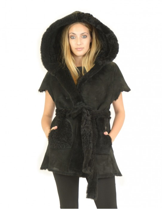 Black sheepskin waistcoat with small sleeve and hood 48 montone баранина Hammel mouton